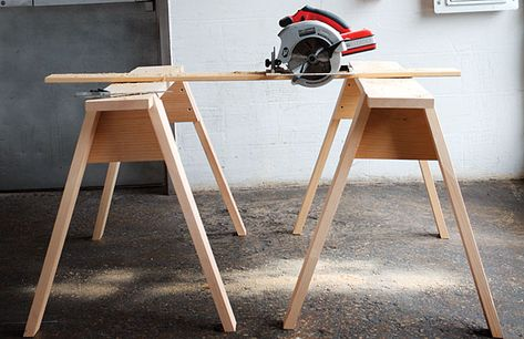 DIY saw horses - had an idea for making a desk out of these - thanks to a friend!