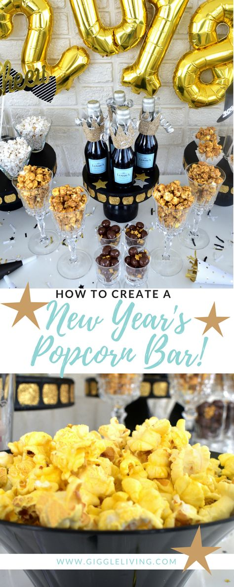 New Year's Eve Popcorn bar/NewYears party ideas/snack table ideas/popcorn/NYE party table. Fun, clever idea, good for kids too.