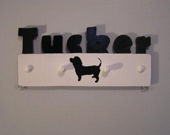 Custom Name Dog Leash Holder Bloodhound dog Wall Hook