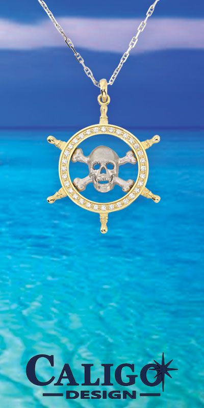 7a9b28793062c Pirate Pendant Necklace - Skull and Captain Wheel - Danger Ahead ...
