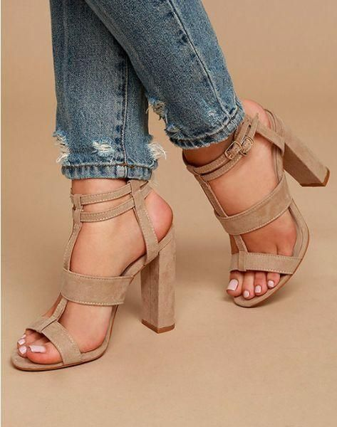 Open Toe Straps Ankle Wraps Hasp Chunky Heels Sandals | Open