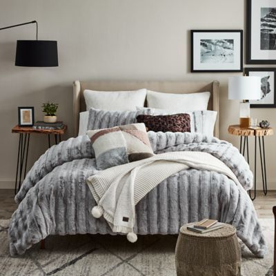 3 Piece Plaid Comforter Set Bedding King Size Sham Stripes Gray Cozy Warm Adult