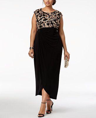 Connected Plus Size Soutache Draped Gown Women - Dresses ...