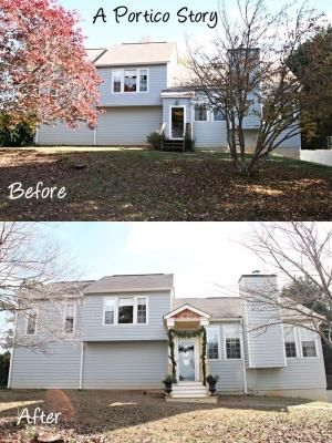 A Before And After Portico Story Adding A Little Front Porch Portico Was The Best Thing I Did To The Out Exterior House Renovation Exterior Renovation Portico