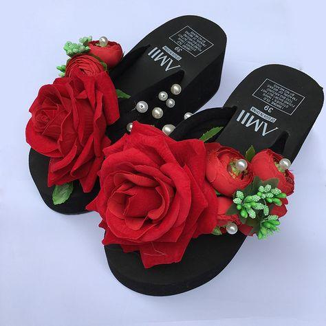41fc4c735 Красный Стекаются Руководство Вьетнамки Летний Пляж Обувь Клинья Туфли На  Платформе обувь женская обувь туфли женские