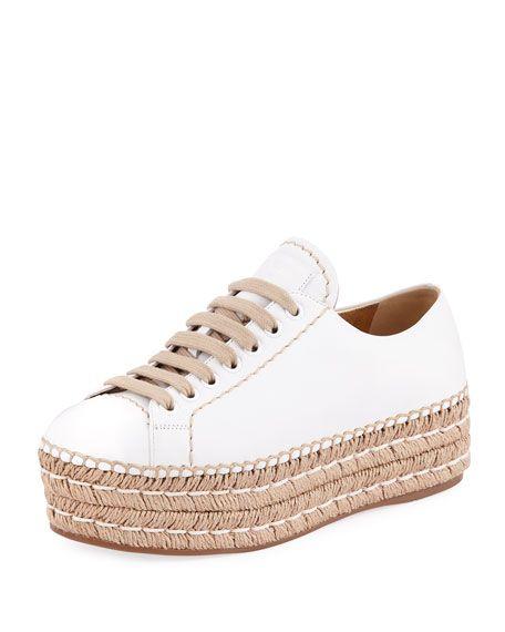 Leather Platform Espadrille Sneaker