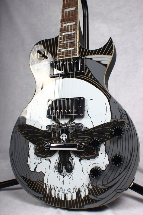 Los Angeles-based company specializing in limited edition guitars designed by internationally acclaimed bands and artists such as Dio, Cypress Hill, Asking Alexandria, Bring Me The Horizon, and more. Guitar Kits, Music Guitar, Cool Guitar, Playing Guitar, Acoustic Guitar, Ukulele Art, Custom Electric Guitars, Custom Guitars, Asking Alexandria