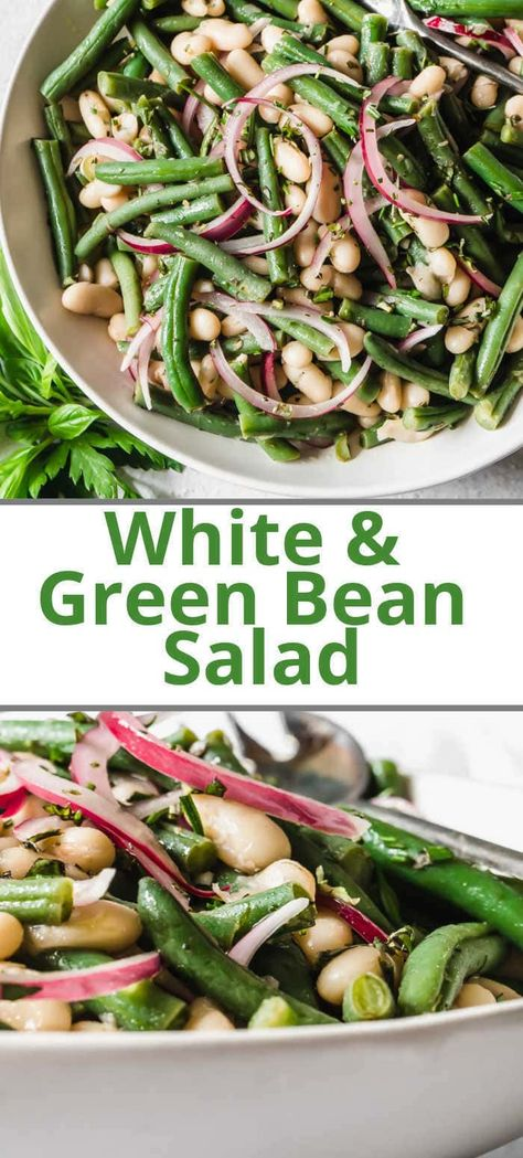 A cold green bean salad made with white cannellini beans tossed in a light dressing vinaigrette made with fresh garden herbs. #greenbeansalad #beansaladrecipe #whitebeansalad #cannellinibeans #greenbeanrecipes #healthysidedishrecipe #healthysaladrecipes
