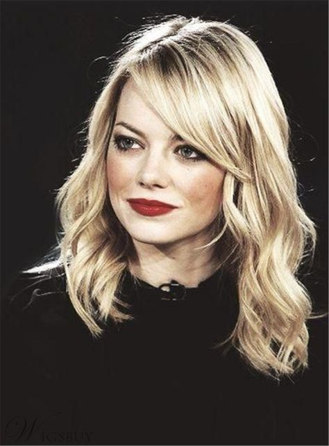 Emma Stone Glod Long Wavy Side Part Capless Synthetic Hair Wig 14 Inches: Wigsbuy.com
