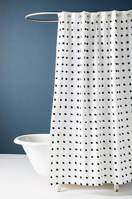 Anthropologie Tufted Makers Shower Curtain Black And White Polka