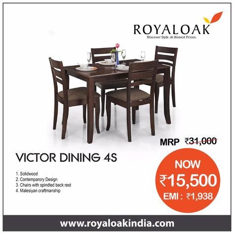 Royal Oak Victor Four Seater Dining Table Set Walnut Amazonin Home Kitchen Check More At Homeideasxxyz