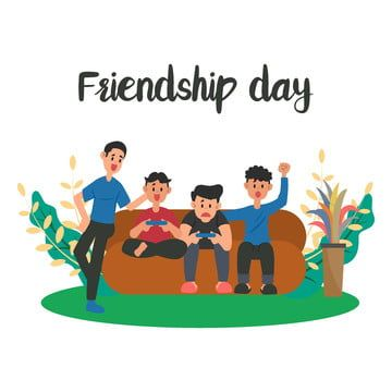 Friendship Day Element With Kids Enjoy Playing Games Friends Friendship Gaming Png And Vector With Transparent Background For Free Download Kids Vector International Friendship Day Happy Friendship Day