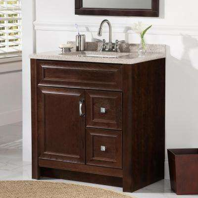 30 Inch Vanities Medium Brown Bathroom Vanities Bath The Home Depot Brown Bathroom Vanity White Sink Solid Surface Vanity Top