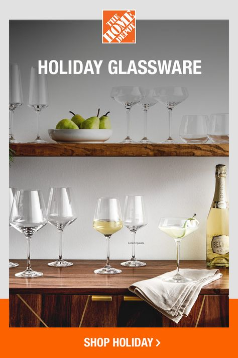 Whatever your drink of choice, you'll have endless options for serving up with drinkware from The Home Depot. Stemmed or stemless, simple or ornate — click to shop all holiday glassware at The Home Depot for your home — and grab some gifts, too.