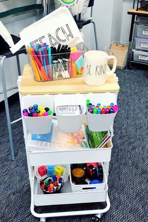 The best teacher cart ideas including teacher cart organization, decorations, labels and tons of DIY ideas. You can make it into a stem station, a calm down cart, a guided reading cart and so much more to do with your rolling cart. Teacher Rolling Cart, Teacher Cart, Teacher Hacks, Teacher Blogs, Your Teacher, New Classroom, Classroom Design, Kindergarten Classroom, Classroom Themes