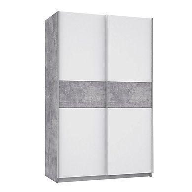 Armoire 2 Portes Coulissantes Ohio Blanc Beton L 120 Cm Armoire Kit Dressing Avec Rideau Armoire Pas Cher