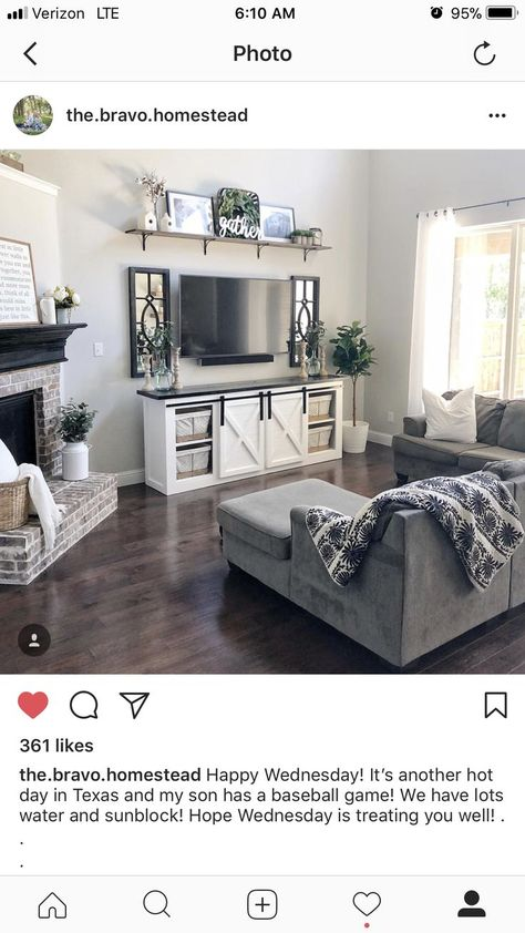 LOVE the mirrors and the shelf above the TV! - Hannah Wheeler - #above #hannah #love #mirrors #shelf #TV #Wheeler