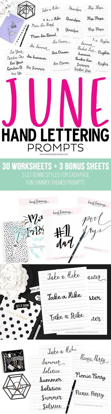 June Hand Lettering Worksheets