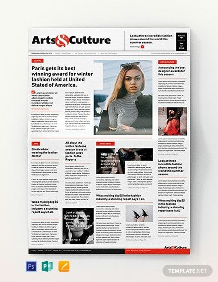 Art And Culture Newspaper Template Word Doc Psd Apple Mac Pages Publisher Culture Art Newspaper Newspaper Template