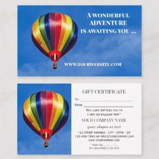 Gift Certificate Business Card Template Offering A Hot Air Balloon Ride Hotairballoon Hotairballoonparty Business Card Size Cards Business Card Inspiration