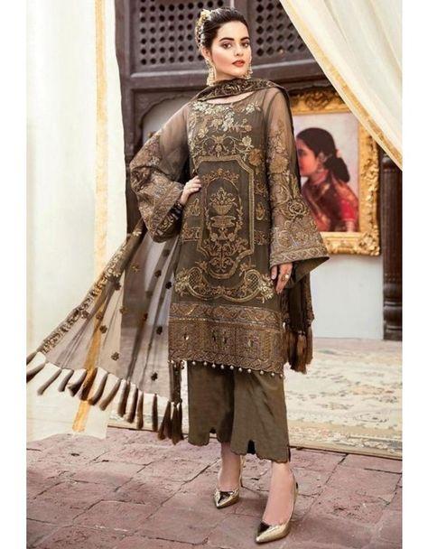 Online Wholesale Brown Georgette Net Party Wear Pakistani Suits Rosemeen Carnival 41001 By Fepic