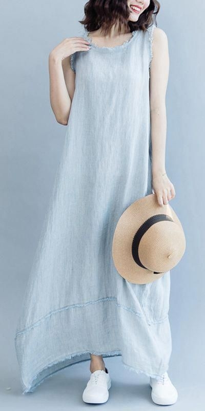 5560fb8414 Charlotte s Fashion Styles  clarksonjt. Loose Cotton Linen Sleeveless Maxi  Dresses Women Casual Clothes Q2077  summerwomensfashion