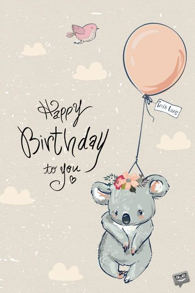Cute Happy Birthday Image With Hand Drawn Koala And Balloon Happy Birthday Images Happy Birthday Art Cute Happy Birthday