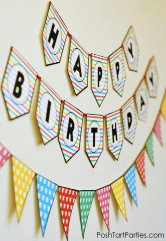 DIY Free printable Birthday Banner