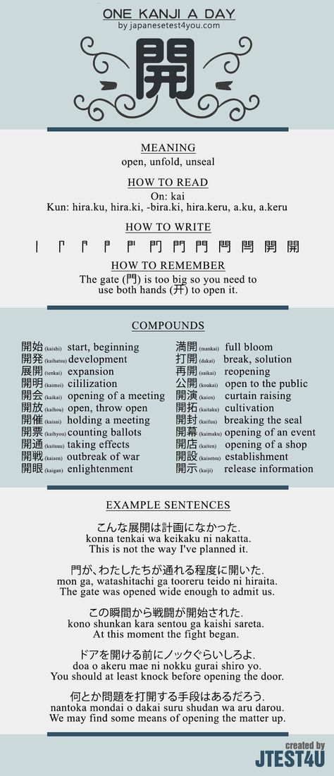 Learn one Kanji a day with infographic - 開 (kai): http://japanesetest4you.com/learn-one-kanji-a-day-with-infographic-%e9%96%8b-kai/