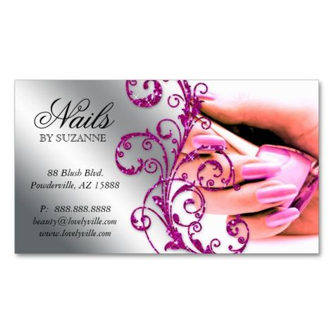 Shop Nail Salon Business Card Glitter Pink Silver 2 created by texas_star.