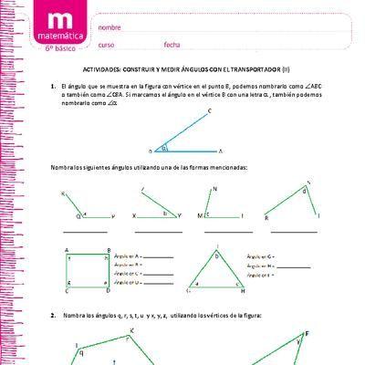 Dibujar Y Medir Angulos Con El Transportador Ii Actividades Escolares Matematicas Transporte