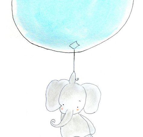 Baby Elephant Nursery Art Print, Childrens Nursery, Gray Sky Blue Balloon, 8x10 via Etsy