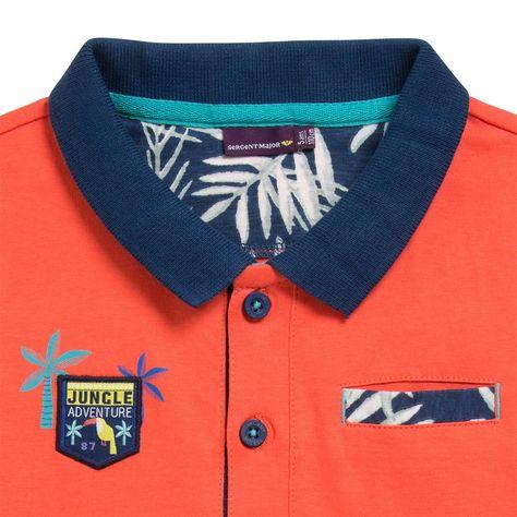 Sergent Major vous propose ce polo garcon brun-orange pour les 2 à 11 ans du theme Les oiseaux tropicoco de la collection Ete