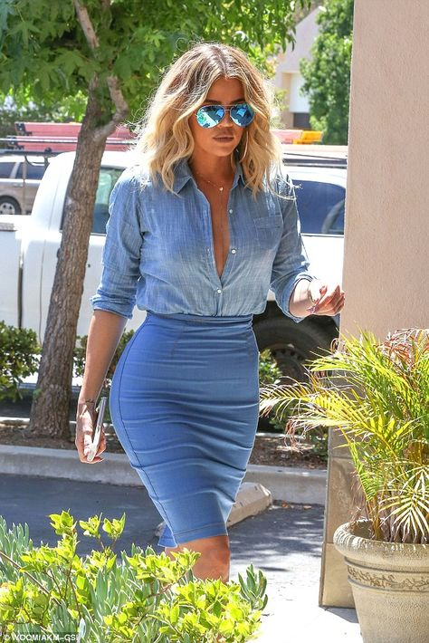 Clone-y Kardashian! Khloe heads to lunch in cleavage-baring denim outfit... taken straight out of Kim AND Kylie's wardrobe | Daily Mail Online
