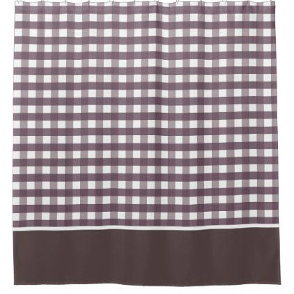 Cassis Purple And White Gingham Checks Shower Curtain Zazzle Com