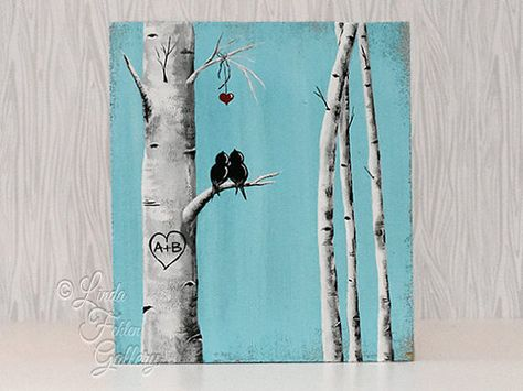 5th Anniversary Gift for Him Custom Wedding Gift Decor Rustic Pallet Art Affordable Original Paintings Love Bird Painting Aspen tree Painting Birch tree Painting Personalized Wedding Gift for Couple  Aspen Tree / Birch Tree Love Birds Painting  { Size } - 13x 11 1/2 on MDF that has been painted with a distressed style.  This is made and ready to add initials (if you would like) and ship. No waiting weeks for a personalized gift. The one in the first two photos is the one you will re...