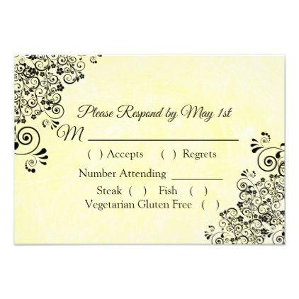 Black And Yellow Wedding RSVP Card