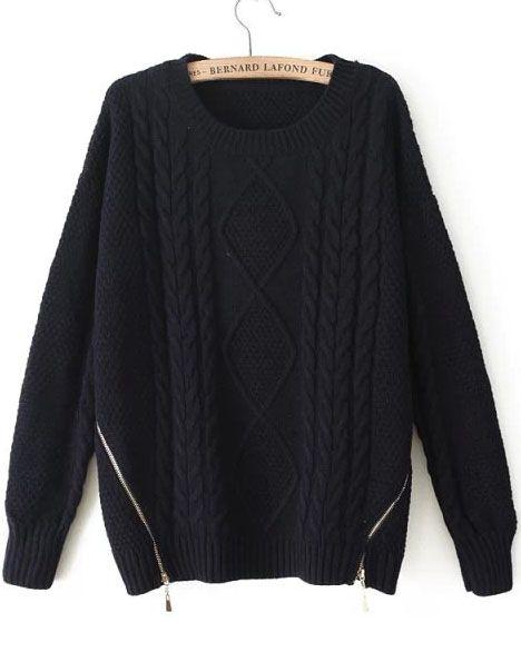 56f6ad075d Shop Black Long Sleeve Zipper Cable Knit Sweater online. Sheinside offers  Black Long Sleeve Zipper Cable Knit Sweater   more to fit your fashionable  needs.