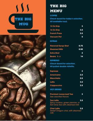Coffee Shop Menu Templates Easy To Edit Musthavemenus In 2020 Coffee Menu Design Coffee Shop Menu Coffee Menu