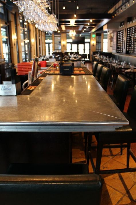 1 Stainless Steel Bar Top Wears Well And Looks Vintage Zinc Countertops Cheap Countertops Stainless Steel Bar