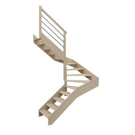 Escalier 2 4 Tournant Gauche Bois Hetre Soft Tubes Scm 14 Mar