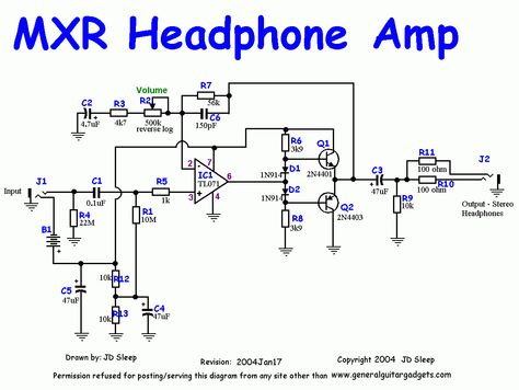 This is the schematic of MXR headphone amp for guitar Description - p & l form
