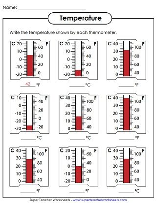 Temperature Worksheets Thermometer First Grade Science