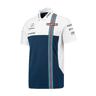 POLO Mens Williams Martini F1 Formula One 1 NEW Mercedes Poloshirt PQ Nvy Wht