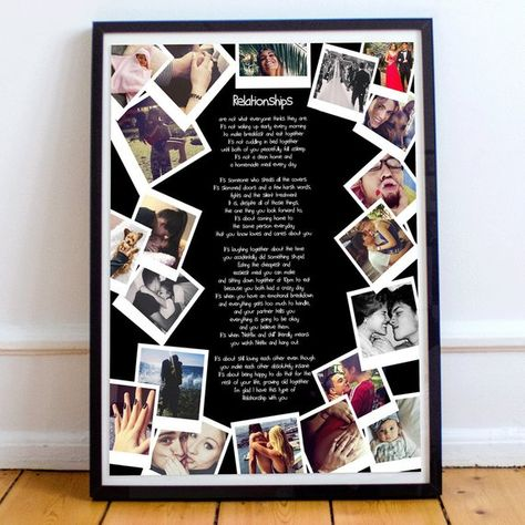 Personalised anniversary gift for girlfriend photo collage | Etsy