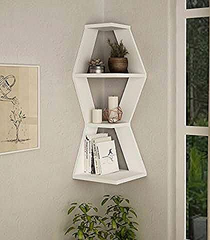 Sablor Corner Shelf White Brandalley In 2020 Modern Wall Shelf Wall Shelves Wall Mounted Shelves
