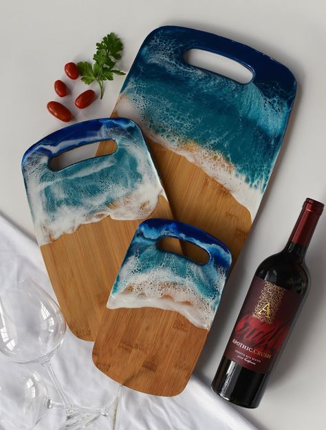 Great present for Mother's Day, Serving tray for cheese and bread, ocean waves cutting board, great housewarming gift