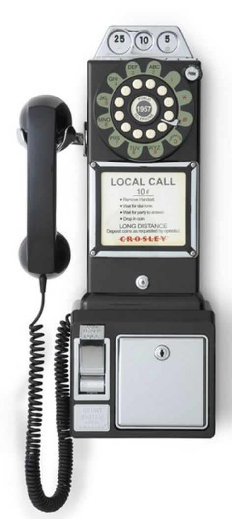 Crosley Radio 'Pay Phone' Wall Phone - Black