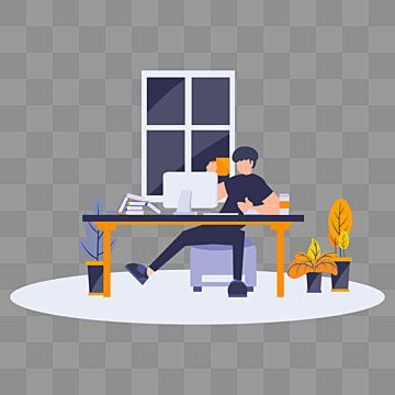 Flat Cartoon Illustration Man Doing Working At Office Home Office Clipart Flat Work Png And Vector With Transparent Background For Free Download In 2021 Cartoon Illustration Cartoon Styles Guy Drawing