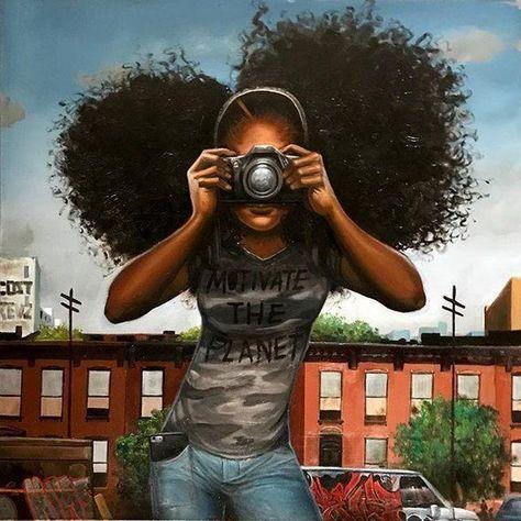 Black Love Art, Black Girl Art, My Black Is Beautiful, Black Girl Magic, Black Girls, Beautiful Eyes, Natural Hair Art, Natural Hair Styles, Frank Morrison Art